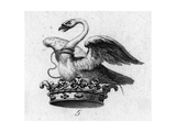 Stylized Swan with Rope on Crown Symbol Premium Giclee Print