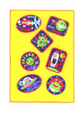 Juvenile-Style Patches with Space Imagery Print
