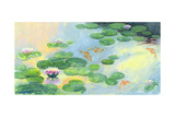 Fish Swimming in Watercolor Lily Pond Prints