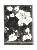 Black and White Flowers and Leaves on Gray Background Premium Giclee Print
