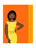 Smiling African-American Woman in Yellow Dress on Orange Poster