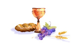 Chalice, Grapes, Bread and Wheat in Watercolor Posters