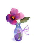 Watercolor of Pansy in Small Blue Vase Poster