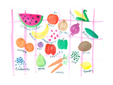 Different Fruits and Vegetables with Names in Lettering Below Premium Giclee Print