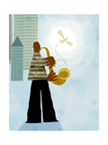 Man in City Playing the Saxophone with Bird Art