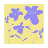 Purple Flowers and Stems on Yellow Background Print