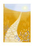 Stone Path Through Orange Field Premium Giclee Print