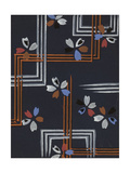 Pair of Abstract Floral Patterns with Feathery Vines and Geometric Lines Art