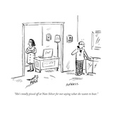 """She's totally pissed off at Nate Silver for not saying what she wants to ..."" - Cartoon Regular Giclee Print by David Sipress"