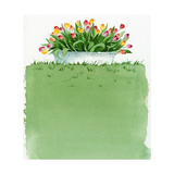Watercolor Lawn with Tulip Planter Print