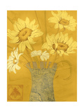 Vase with Sunflowers and Daisies on Yellow Background Posters