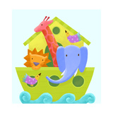 Colorful Animals Peeking Out of Ark on Scrolling Waves Posters