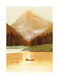 Man and Dog on Canoe on Mountain Lake Posters