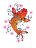 Orange Koi With Floral Design Prints by  Wonderful Dream