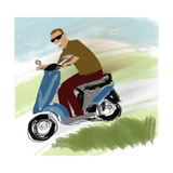 Smiling Man in Sunglasses Driving Motor Scooter Print