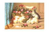 Ornery Rabbits Destroying Rose Basket Posters