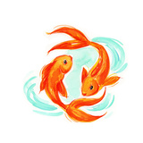Brushy Gold Fish and Stylized Water Art