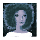 Close-Up of Woman with Afro and White Blouse Poster