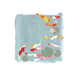 Stylized Colorful Koi Fish Swimming with Lily Pads Stretched Canvas Print