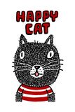 Black Cat with Happy Cat Lettering Posters