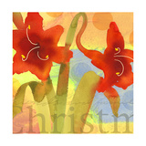 Watercolor of Amaryllis Plant with Handwriting and Christm Lettering Prints