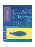 Blue Fish and a Single Feather on Blue and Purple Background Premium Giclee Print
