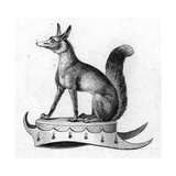 Stylized Fox Sitting on Crown Platform Poster