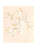 Pale Flowering Branches Against Blush Watercolor Background Prints