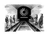 A group of commuters waiting for a subway train that's buffering. - New Yorker Cartoon Premium Giclee Print by Corey Pandolph