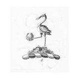 Stylized Heron Holding Seashell Prints