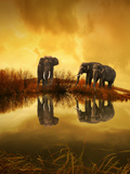 Fantasy Elephant Nature Summer Posters by  Wonderful Dream