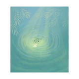 Frog Swimming Towards Bug Sitting on Pond's Surface Prints