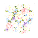 Dense Pattern of Mixed Spring Flowers in Pastel Colors Prints