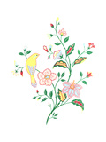 Branches with Variety of Leaves and Flowers and Yellow Bird Premium Giclee Print
