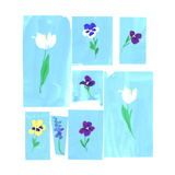 Painted Spring Flowers on Irregular Blue Panels Poster
