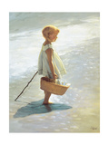 Young Girl on a Beach Giclee Print by I. Davidi