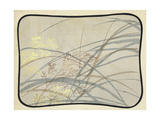Watercolor Grasses with Light Wash and Border Posters