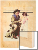 First Aid Lesson (or Scout Bandaging Girl's Finger) Wood Print by Norman Rockwell