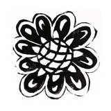 Black and White Stamped-Looking Rounded Petaled Flower Posters