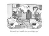 """Everybody has a headache since we switched to solar."" - New Yorker Cartoon Premium Giclee Print by Peter C. Vey"
