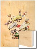 Four Sporting Boys: Football Wood Print by Norman Rockwell