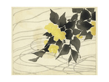 Small Yellow Flowers with Gray Leaves Watercolor Art