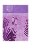Couple Holding Hands, Walking on the Beach Posters