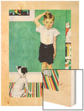 He's Going to Be Taller Than Dad (or Boy Measuring Himself on Wall) Wood Print by Norman Rockwell