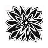 Black and White Stylized Flower Stretched Canvas Print