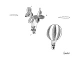 Man in hot air balloon passes dog in giant dog shaped balloon. - New Yorker Cartoon Premium Giclee Print by Ken Krimstein