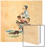 Grandpa and Me: Fishing Wood Print by Norman Rockwell