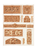 Bas Relief Borders with Floral and Scrolling Embellishments Posters