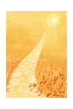 Stone Path in a Sunny Field with Wildflowers Print