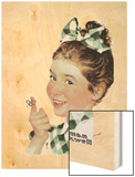 Girl with String Wood Print by Norman Rockwell